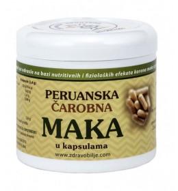 Peruanska Maka (kapsule)za jačanje libida, dodatne energije ,povećanje mišićne mase, kod neredovnih menstruacija i simptoma PMS-a, regulisanje rada štitaste žlezdeu